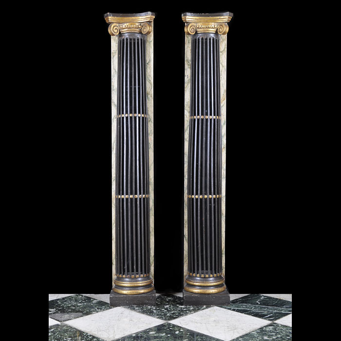 A Pair of Regency Ebonised Wood Columns