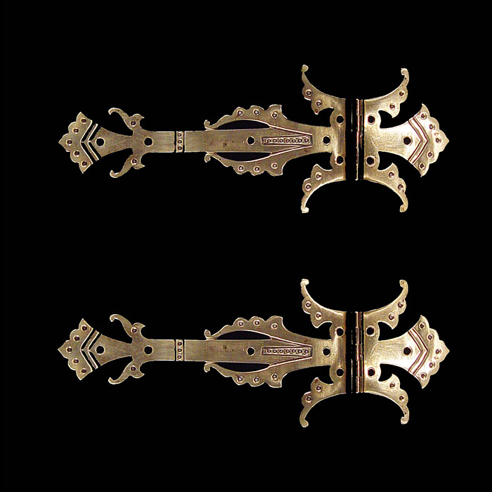 Antique Gothic Revival Brass Hinges, 1850