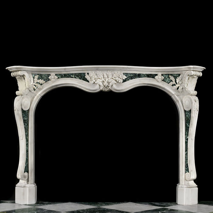 Rare Rococo Statuary Marble Fireplace