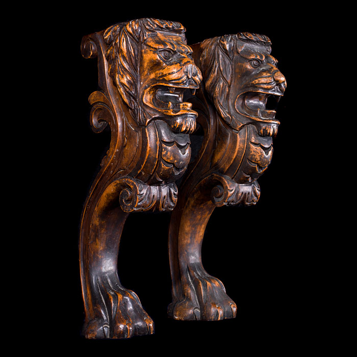 Pair of Carved Walnut Lion Monopodia Terms