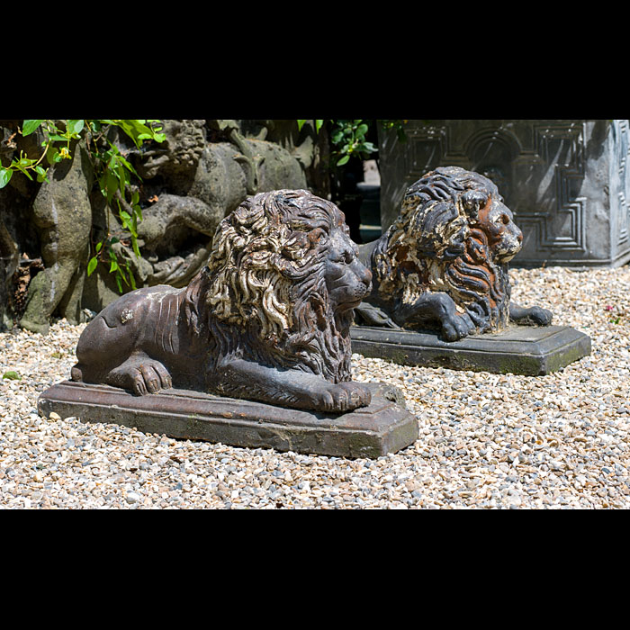 Victorian Pair of Terracotta Garden Lions