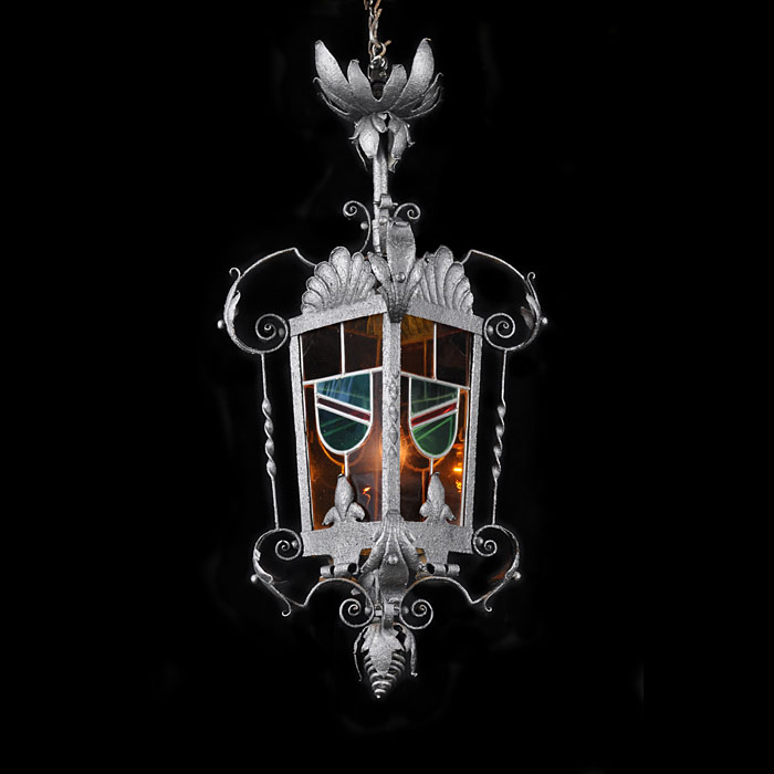 A Coloured Glass Victorian Hall Lantern