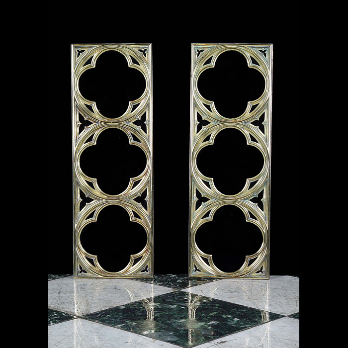 Antique 19th century Pair of Brass Window Frames in a Neo Gothic style