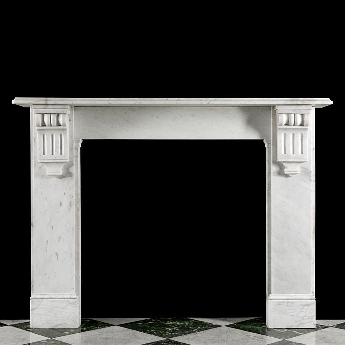 A Late 19th Century Carrara Marble Fireplace