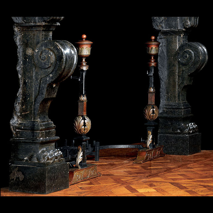 Louis XVI Bronze & Iron Antique Andirons