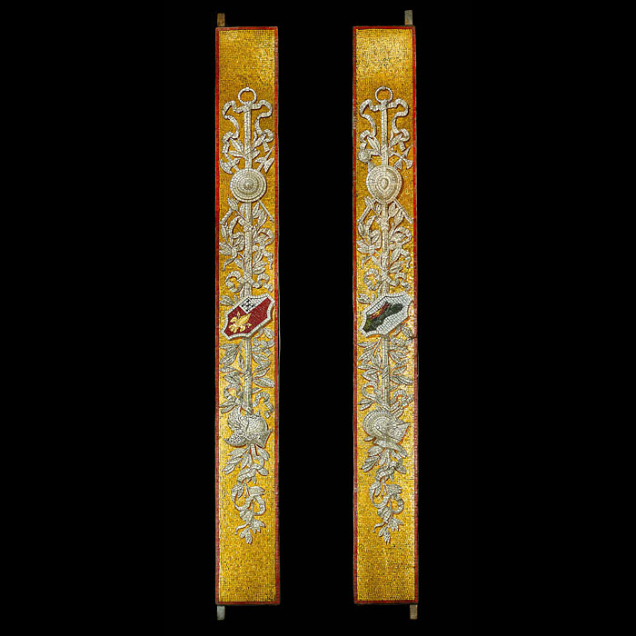 A Rare Pair of Glass Mosaic Pilasters