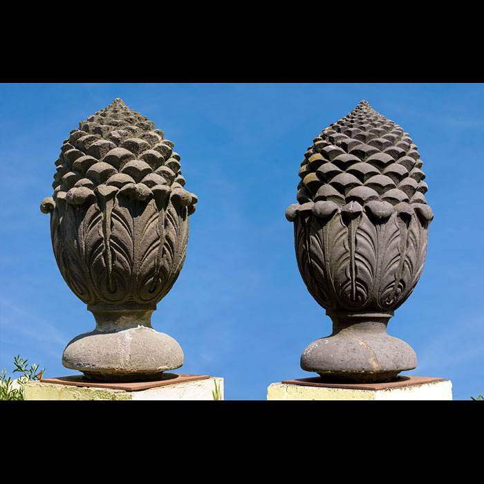 Monumental Pair of Pomme de Pin Gate Finials