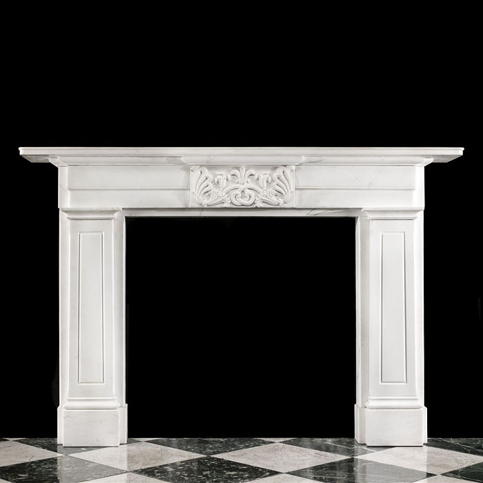 A Greek Revival Statuary Marble Fireplace