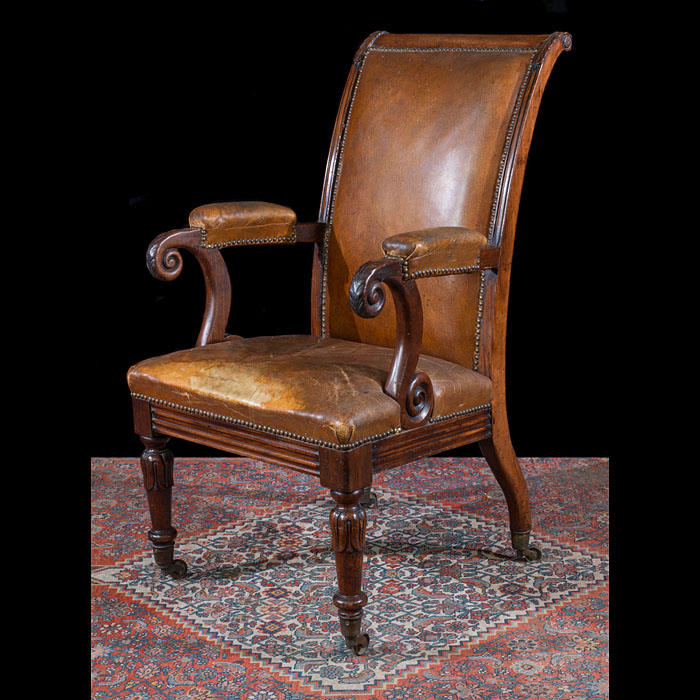 William IV Leather and Mahogany Armchair