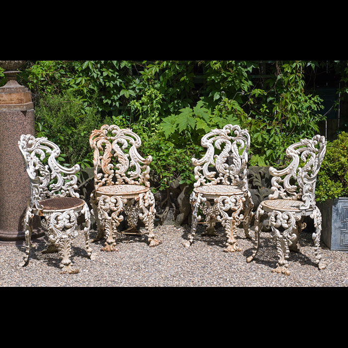 Four Cast Iron Rococo Style Garden Chairs