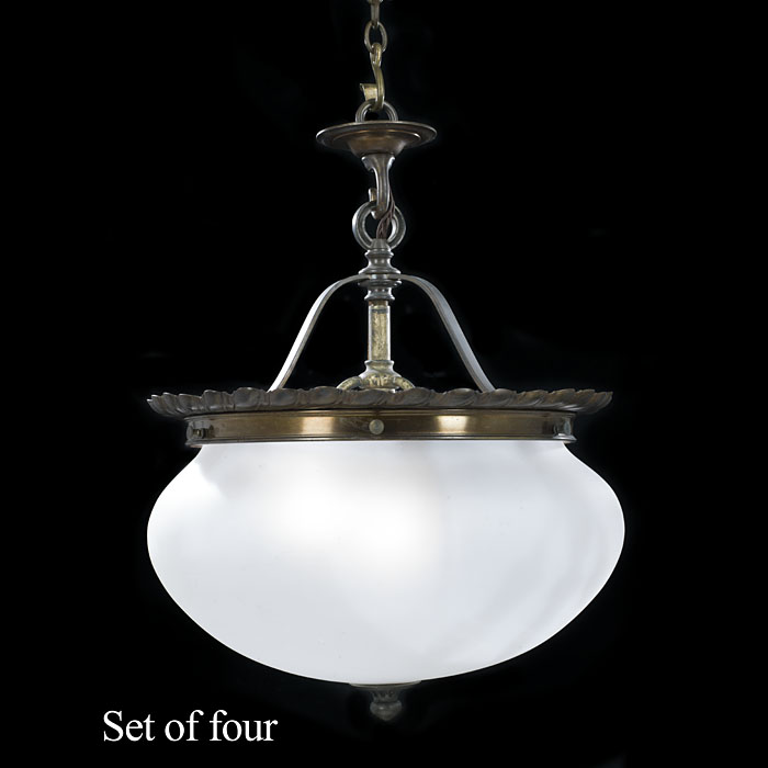 Victorian Set of Opaque Glass Ceiling Lights