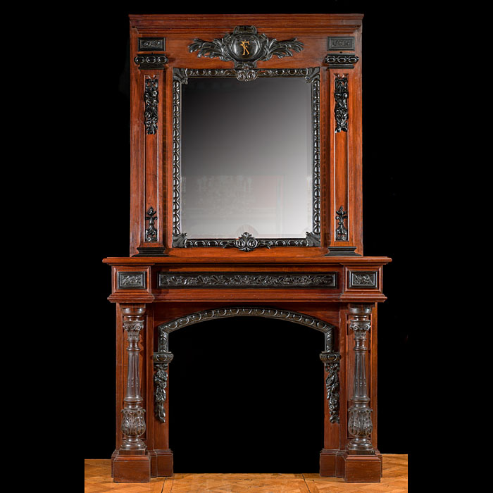 A French Rosewood And Ebony Chimneypiece
