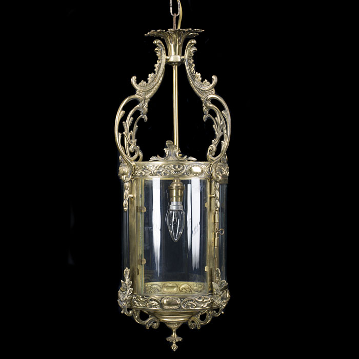 An ornate Regency style brass hall lantern