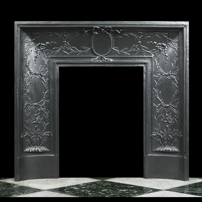 A French cast iron foliate fireplace insert
