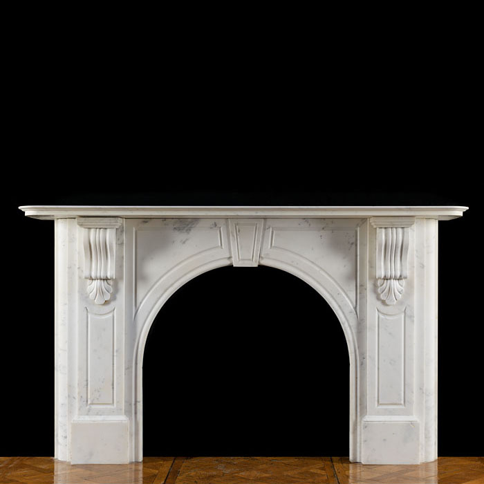 A Victorian Statuary Marble Arched Fireplace