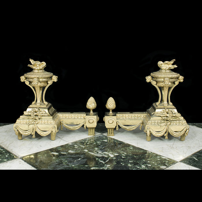 An antique pair of gilt bronze Louis XVI chenets