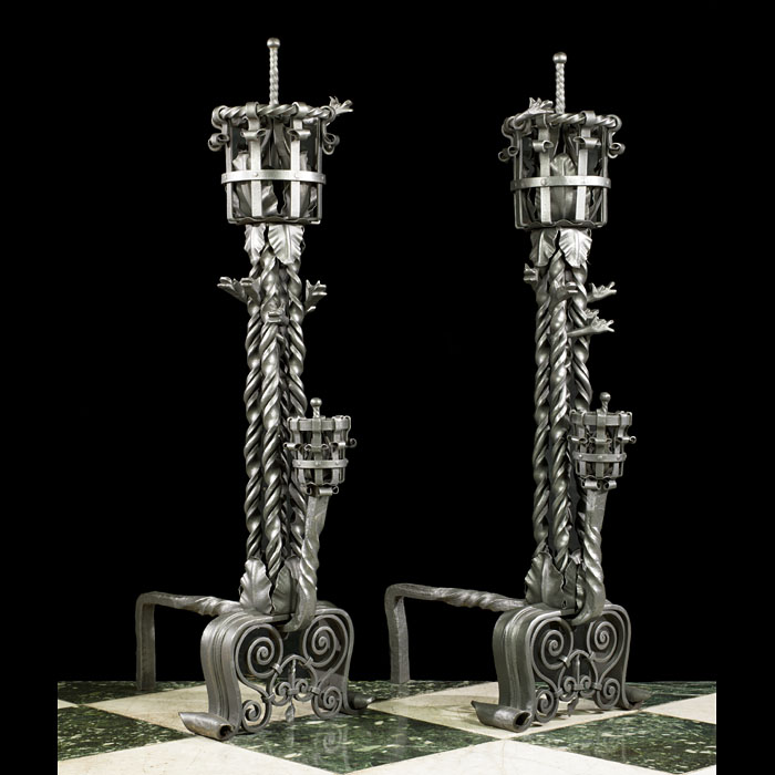 A Pair Gothic Revival Wrought Iron Andirons