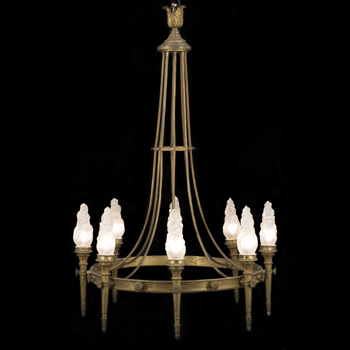 A Neoclassical Style Brass Torchere Chandelier
