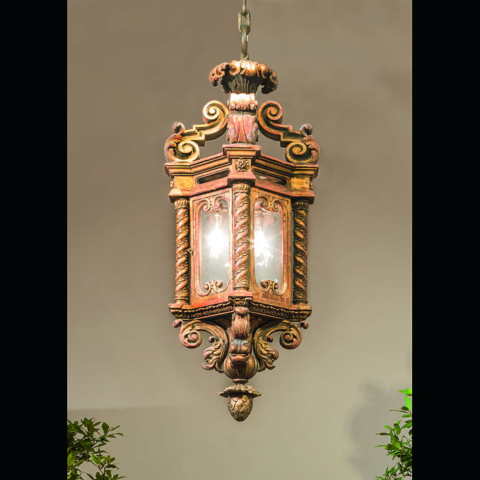 A Large Venetian Baroque Gilt Wood Lantern