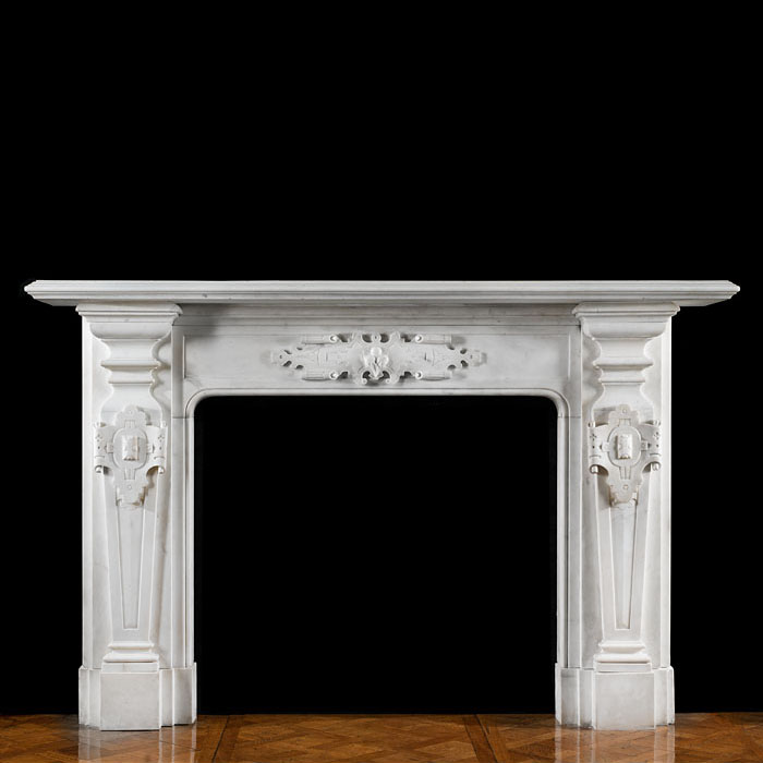 A Victorian Statuary Marble Large Fireplace