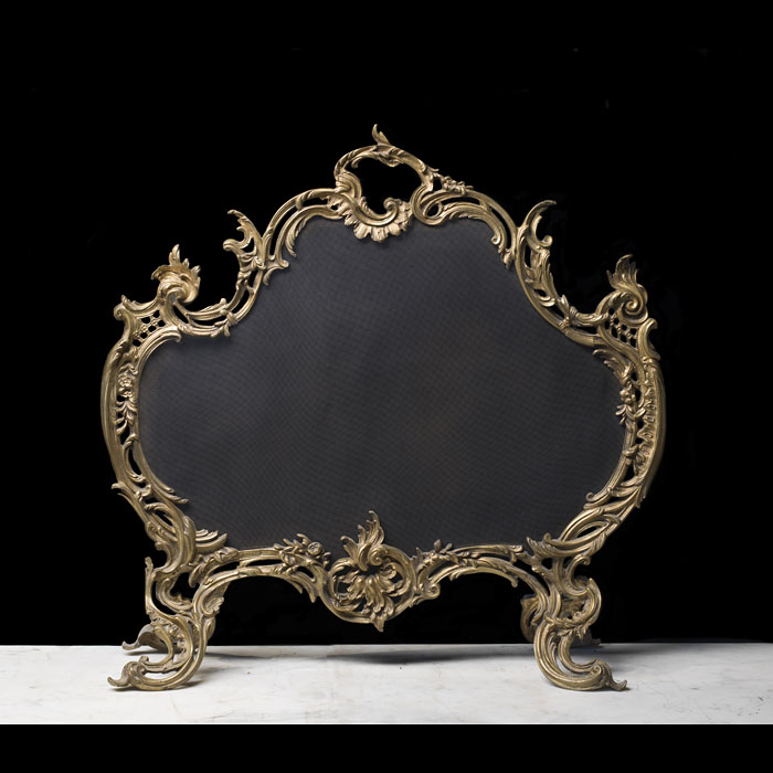 French Gilt Bronze Rococo Style Fire Screen.