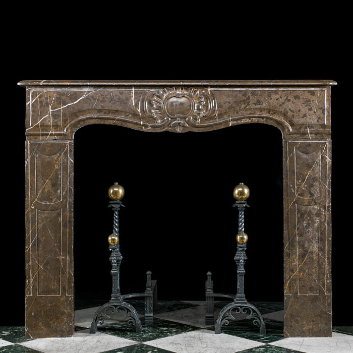 A French Rococo Brown Marble Fireplace