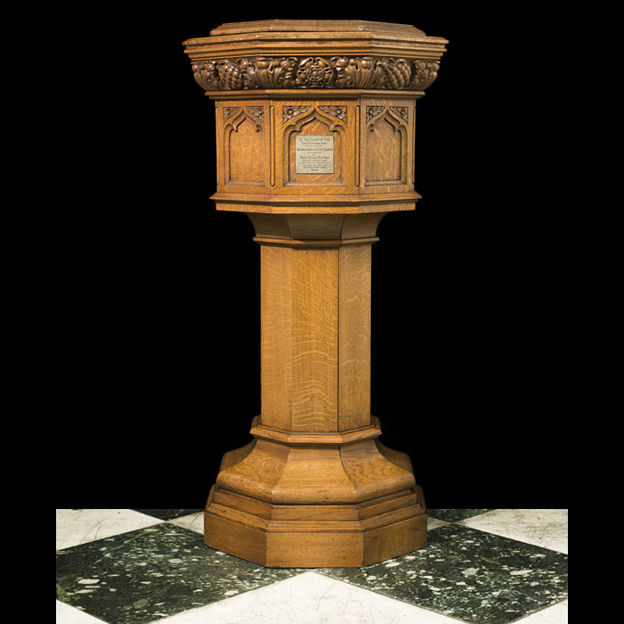An Arts & Crafts Carved Oak Font