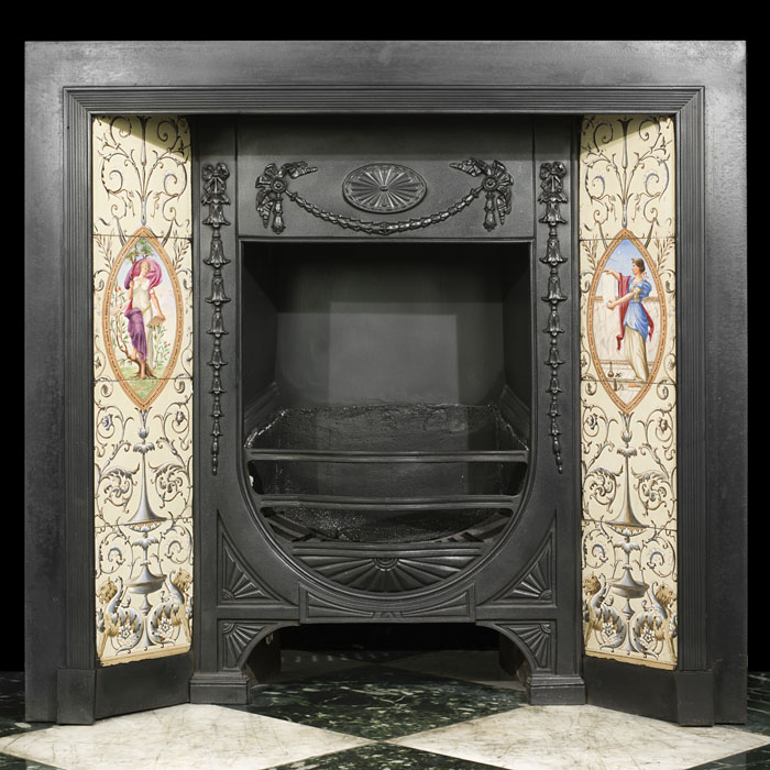 An attractive Minton tiled cast iron Fireplace Insert