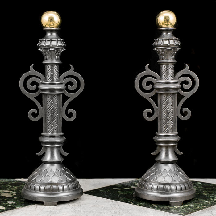 Victorian pair of tall cast iron and brass andirons