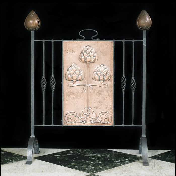 Copper & Steel Art Nouveau Fire Screen