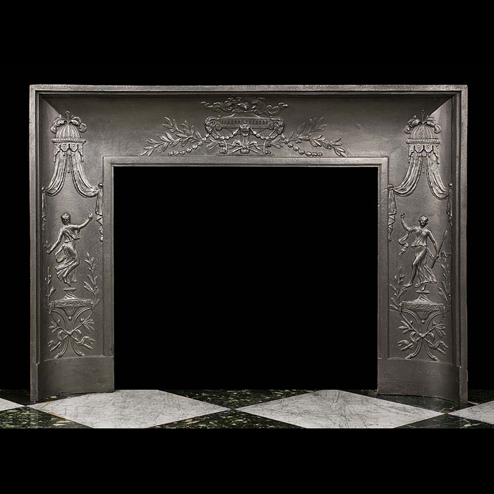 An antique French cast iron fireplace insert.