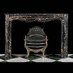 French Rococo Style Portoro Marble Fireplace