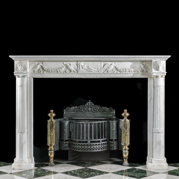 A Regency Carrara Marble Italian Fireplace