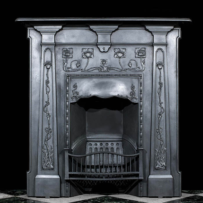 A Small Art Nouveau Cast Iron Fireplace