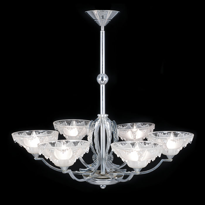 An Art Deco Chrome Plated Ceiling Light