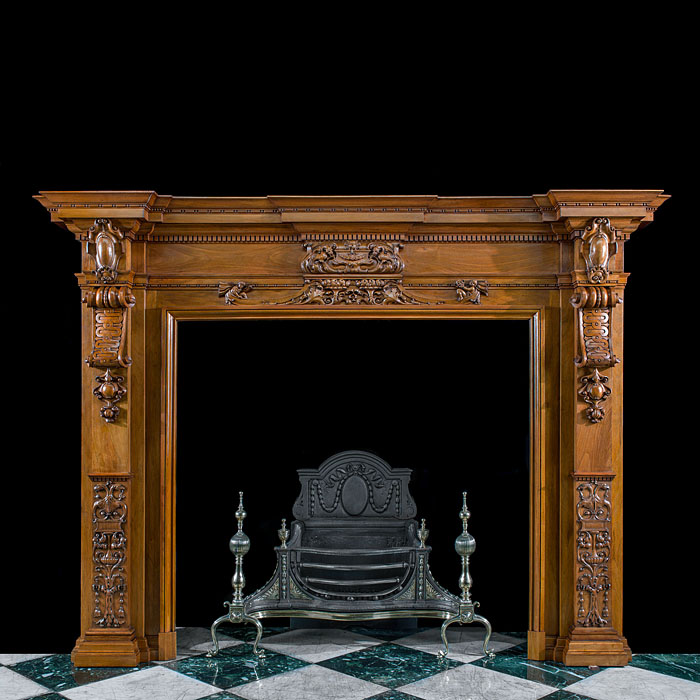 A Grand Walnut Victorian Fireplace Mantel