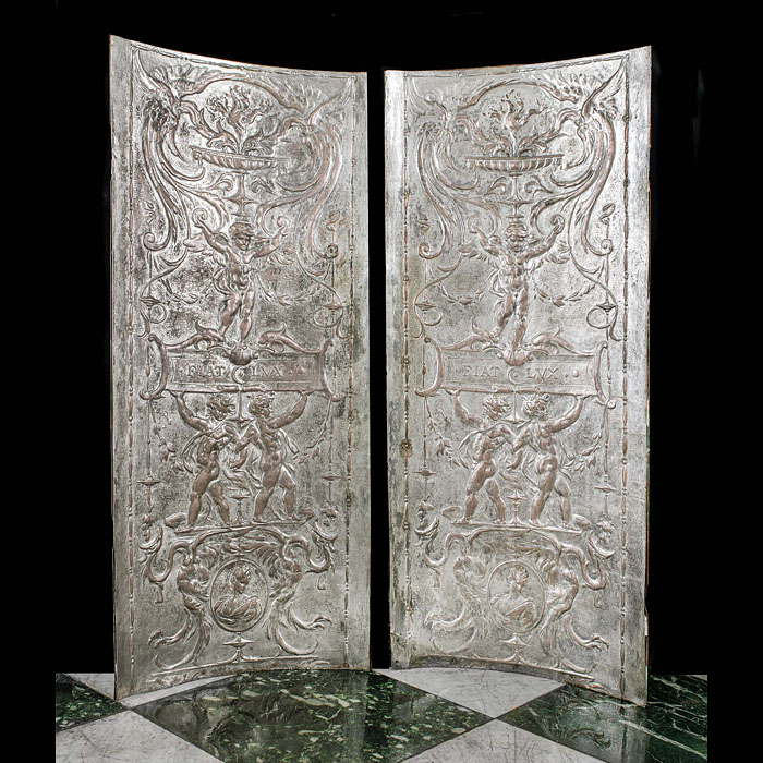 A Pair of Silver Plated Fireplace Panels
