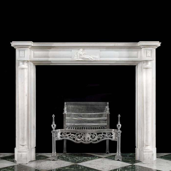 A Columned Regency Statuary Marble Fireplace