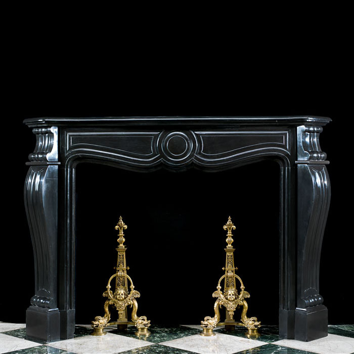 A Black Marble Rococo Style Fire Surround