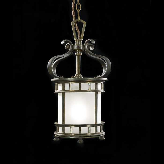 A Small Bronze Late Edwardian Hall Lantern