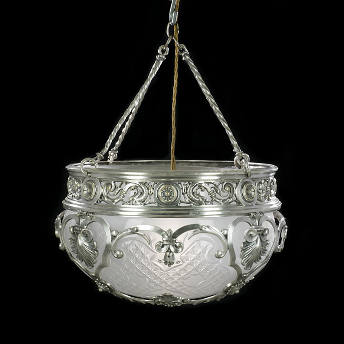 A Fine Edwardian Silver Plated Ceiling Light