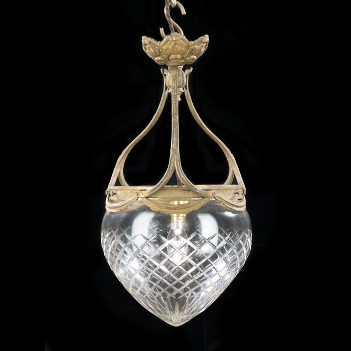 A Cut Glass Edwardian Teardrop Ceiling Light