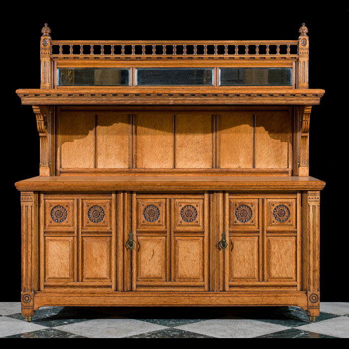 A Gothic Revival golden oak Victorian buffet