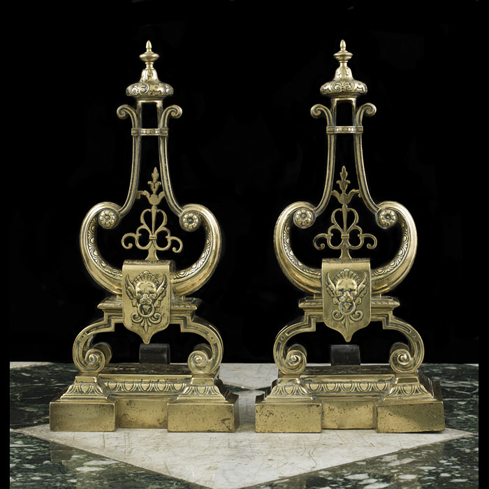 A Pair Of French Lyre Form Brass Chenets
