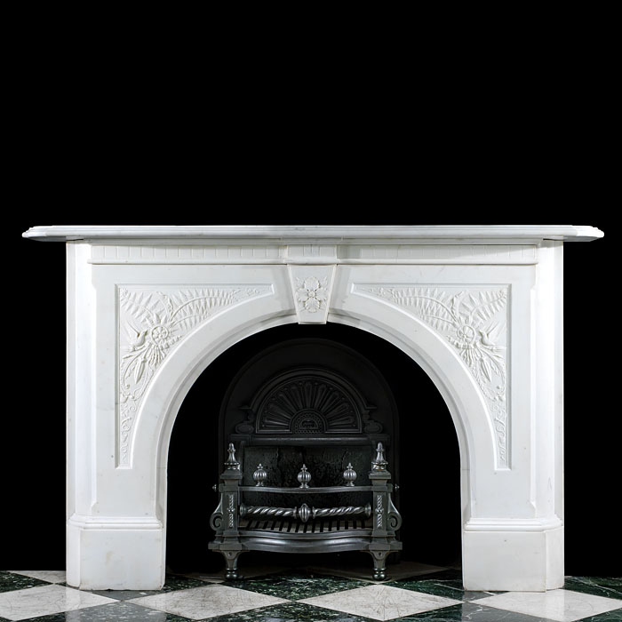 An Arched Statuary Marble Antique Fireplace