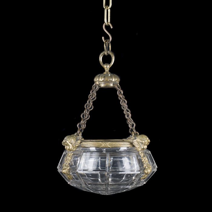 A small, cut glass & ormolu ceiling light