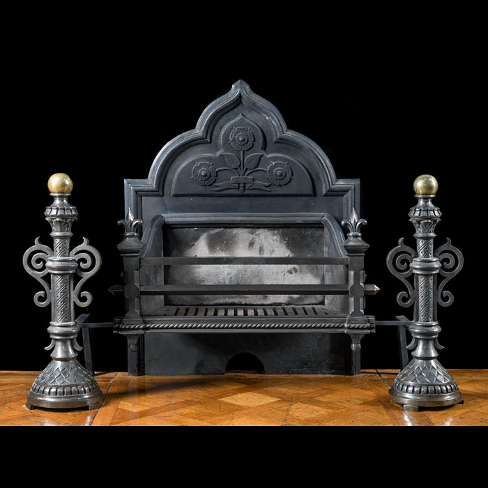 A cast iron Gothic Revival large firegrate