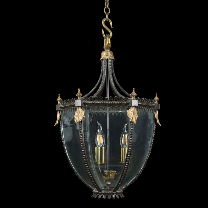 A large bronze Regency hall lantern