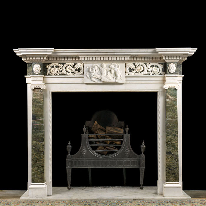 A Neoclassical Statuary marble chimneypiece