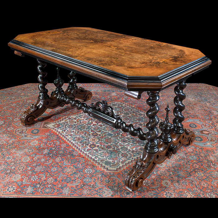 Solid Ebony and Walnut Victorian Table